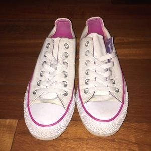 White & pink low top converses size 7 women